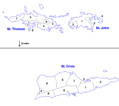 Quarters Map, St. Croix and St. Thomas